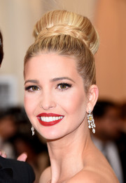 Ivanka Trump complemented her updo with a beautiful pair of diamond chandelier earrings.