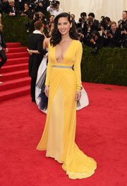 Olivia Munn made a super-sophisticated choice with this long-sleeve, low-cut Diane von Furstenberg evening dress in two shades of yellow for the Met Gala.