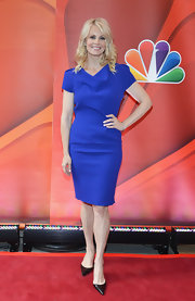 Monica Potter rocked this electric blue cocktail dress while at the NBC Upfront event in NYC.