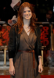 Rose Leslie's bomber jacket toughened up her minimalist outfit.