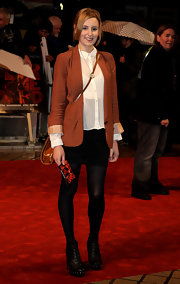 Laura Carmichael teamed up her sheer top with a high-waist pencil skirt at the 'Red' premiere.