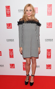 Fearne Cotton looked funky in a black-and-white Mother of Pearl gingham dress with a sheer, ruffled yoke at the Red Women of the Year Awards.