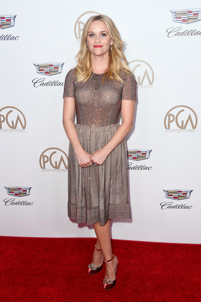 Reese Witherspoon Evening Pumps [red carpet,clothing,carpet,dress,cocktail dress,premiere,footwear,fashion,flooring,long hair,arrivals,reese witherspoon,the beverly hilton hotel,beverly hills,california,annual producers guild awards]
