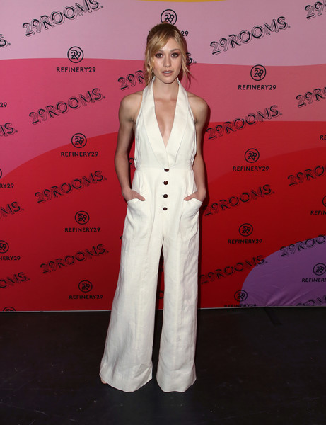 Katherine McNamara channeled summer in a white halterneck jumpsuit by Zimmermann at the 29Rooms Los Angeles 2018.