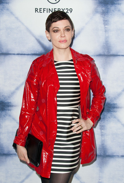 More Pics of Rose McGowan Pixie (1 of 8) - Rose McGowan Lookbook - StyleBistro [clothing,red,outerwear,jacket,leather jacket,fashion model,fashion,coat,overcoat,leather,arrivals,rose mcgowan,sunset tower hotel,west hollywood,california,refinery29 holiday party]