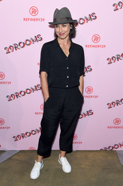 Constance Zimmer kept it understated with this black button-down and slacks combo at the 29Rooms: Turn It Into Art event.