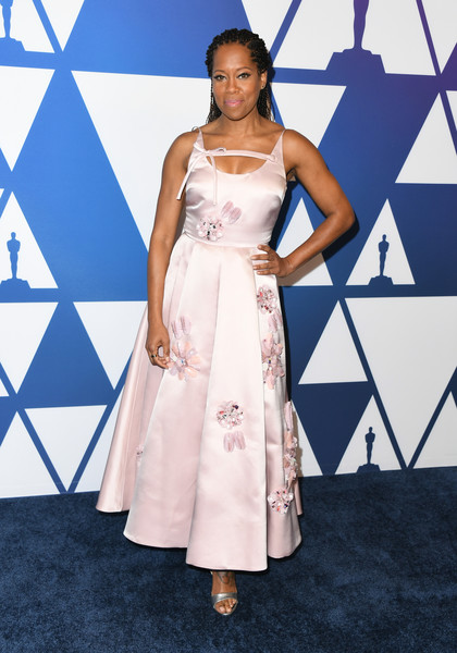 Regina King Evening Dress [clothing,white,dress,fashion model,fashion,red carpet,beauty,fashion show,shoulder,hairstyle,arrivals,nominees,regina king,the beverly hilton hotel,beverly hills,california,oscars,oscars nominees luncheon]