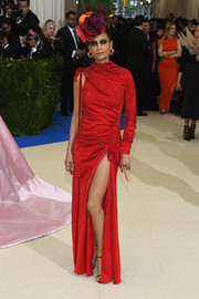Thandie Newton hit the 2017 Met Gala looking flirty in a ruched, one-sleeve gown by Monse.