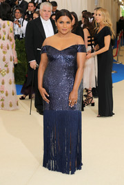 Mindy Kaling sparkled so elegantly in a sequined and fringed off-the-shoulder gown by Prabal Gurung at the 2017 Met Gala.