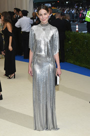 Michelle Monaghan was all about space-age elegance in a draped silver chainmail gown by Paco Rabanne at the 2017 Met Gala.
