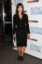 Gina Gershon looked ladylike at the 'Relatively Speaking' opening in NYC in a black skirt suit paired with strappy black booties.