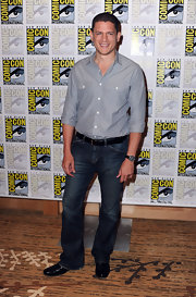 Wentworth Miller maintains his classic style with a leather band chronograph watch.