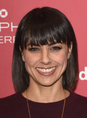 Constance Zimmer looked youthful wearing this bob with blunt bangs at the Sundance premiere of 'Results.'