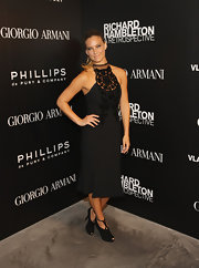 Bar Refaeli stepped out at the Richard Hambleton art opening in a velvet flocked LBD.