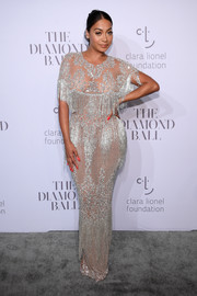 La La Anthony brought a heavy dose of sparkle to the Diamond Ball with this heavily embellished fringe gown by Yousef Al-Jasmi.