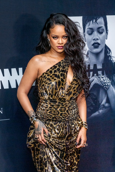 Rihanna Bangle Bracelet [autobiography,shoulder,clothing,dress,hairstyle,fashion model,fashion,joint,long hair,premiere,leg,rihanna,new york city,guggenheim museum,rihanna launch event,launch]
