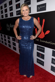 Lexi Thompson sparkled on the red carpet in a blue sequin gown during the Diamond Ball.
