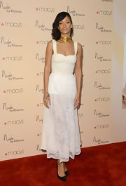 Rihanna looked sweet with a spicy twist for the launch of Nude at Macy's.