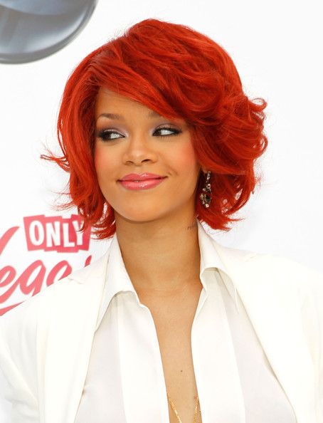 Rihanna Lipgloss [hair,hairstyle,face,red,hair coloring,red hair,orange,chin,beauty,blond,arrivals,rihanna,billboard music awards,2011 billboard music awards,las vegas,nevada,mgm grand garden arena]
