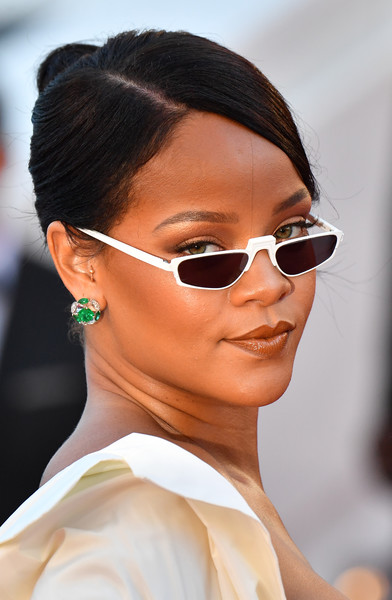 Rihanna Rectangular Sunglasses [film,photo,eyewear,eyebrow,sunglasses,vision care,beauty,hairstyle,chin,glasses,fashion,eyelash,red carpet arrivals,rihanna,okja,barbadian,cannes,france,cannes film festival,screening]