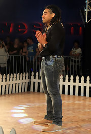 Ma'a Nonu channeled the '80s in a pair of acid-washed skinny jeans at the Rise Up Christchurch Telethon Appeal.