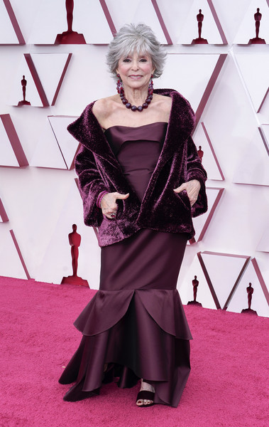 Rita Moreno Mermaid Gown [purple,fashion,sleeve,pink,fashion design,flooring,necklace,magenta,makeover,jewellery,fashion,red,purple,sleeve,pink,california,los angeles,union station,magenta telekom,annual academy awards,red carpet,haute couture,carpet,costume,model,fashion,red,magenta telekom]