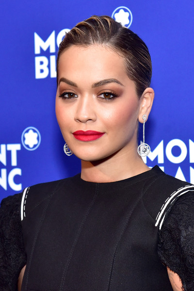 Rita Ora Dangling Diamond Earrings [le petit prince,hair,face,hairstyle,eyebrow,lip,beauty,chin,electric blue,forehead,ear,rita ora,new york city,montblanc meisterstuck,one world trade center observatory,event,event]