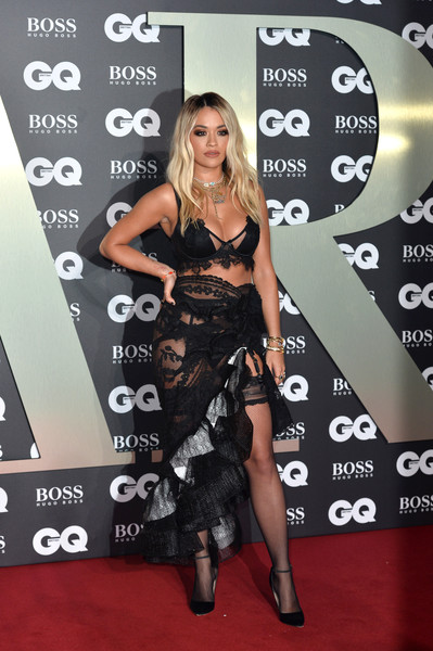 Rita Ora Bra [clothing,dress,carpet,red carpet,technology,little black dress,long hair,flooring,premiere,style,red carpet arrivals,rita ora,gq men of the year awards,england,london,tate modern]