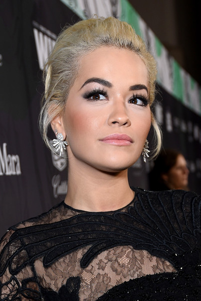 Rita Ora Loose Bun [hair,face,eyebrow,hairstyle,blond,lip,beauty,chin,eyelash,ear,12th annual women in film oscar nominees party,stella artois,max mara with additional support from chloe wine collection,rita ora,support,spring place,los angeles,cadillac,red carpet,max mara]