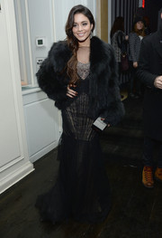 Vanessa Hudgens looked breathtakingly glam in a black fur coat layered over a beaded gown during the 'Gimme Shelter' NYC screening.