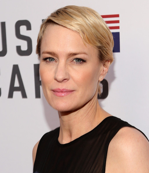 Robin Wright Short Side Part [house of cards,for your consideration,hair,face,hairstyle,blond,eyebrow,chin,skin,lip,beauty,cheek,robin wright,q a,leonard h. goldenson theatre,north hollywood,california,netflix]