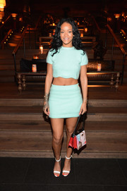 A matching mini skirt rounded out Rihanna's sexy look.