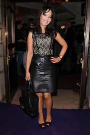 Katie Piper toughened a lacy top with an on trend leather pencil skirt. Ladylike meets fierce!