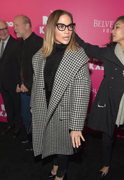 Jennifer Lopez arrived for the 'Rock the Kasbah' New York premiere all bundled up in a Max Mara houndstooth coat.