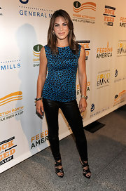 Jillian Michaels paired a blue leopard-print top with black leather pants for a totally wild look during the Rock a Little, Feed a Lot benefit concert.