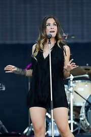 Leire Martinez rocked the stage during Rock in Rio Madrid wearing a fringed short suit.