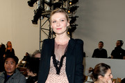 Kirsten Dunst Is Lovely in a Print Dress and Blazer at the Rodarte Fashion Show