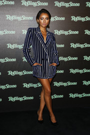 Kat Graham looked fierce in a navy and white striped blazer dress at the Rolling Stone party.