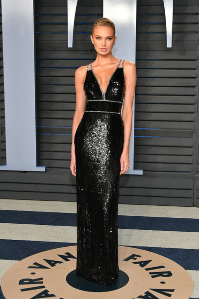 Romee Strijd Sequin Dress [oscar party,vanity fair,romee strijd,fashion model,dress,clothing,gown,fashion,haute couture,shoulder,bridal party dress,neck,formal wear,beverly hills,california,wallis annenberg center for the performing arts,radhika jones - arrivals,radhika jones]