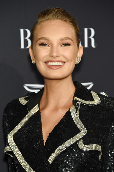 Romee Strijd Classic Bun [hair,hairstyle,eyebrow,beauty,lip,fashion,smile,premiere,fashion model,brown hair,carine roitfeld,estee lauder,stella artois - arrivals,icons,plaza hotel,harpers bazaar celebrates,saks fifth avenue,fujifilm instax,genesis,infor]