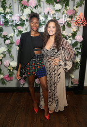 Ashley Graham covered up her curves in a printed maxi dress for the #PerfectNever campaign launch.