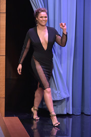 Ronda Rousey paired glamorous gold sandals with a sizzling-hot LBD for her appearance on 'The Tonight Show.'