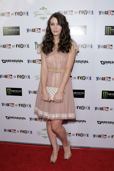 Rooney Mara Printed Clutch [youth in revolt,clothing,cocktail dress,dress,red carpet,fashion model,premiere,carpet,shoulder,flooring,long hair,arrivals,rooney mara,california,los angeles,mann chinese,premiere,premiere,the weinstein company film ``youth in revolt]