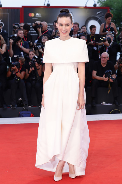 Rooney Mara Evening Dress [red carpet,carpet,dress,shoulder,clothing,premiere,flooring,fashion model,fashion,event,red carpet arrivals,joker,rooney mara,sala grande,red carpet,venice,italy,76th venice film festival,screening]