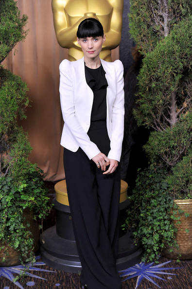 Rooney Mara Jumpsuit [suit,clothing,formal wear,fashion,pantsuit,tuxedo,blazer,outerwear,haute couture,photography,rooney mara,oscar,stars,the beverly hilton,hotel,beverly hills,california,nomination lunch,84th academy awards nominations luncheon]