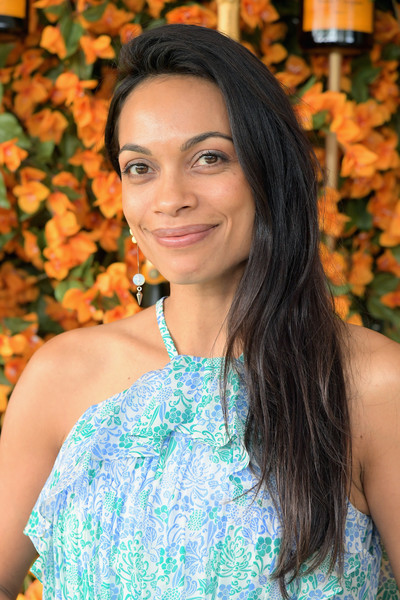 Rosario Dawson Side Sweep [hair,lady,beauty,hairstyle,turquoise,shoulder,long hair,black hair,smile,brown hair,rosario dawson,ninth,los angeles,pacific palisades,california,will rogers state historic park,veuve clicquot polo classic]