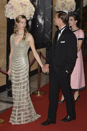 Beatrice Borromeo was Art Deco-glam in a beaded gold gown at the 2015 Rose Ball.