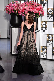 Charlotte Casiraghi chose a low-cut, embroidered black gown by Chanel for the 2017 Rose Ball.