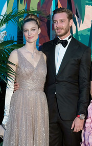 Beatrice Borromeo paired white opera gloves with a beaded taupe gown for the 2019 Rose Ball.
