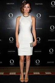 Rose Byrne wore tan peep toe pumps to go with her simple outfit at an event in Sydney celebrating her becoming the new face of Oroton.